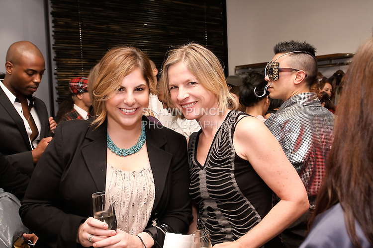 Fashion designer Astrid Brucker (rigth), and guest attend the Blanc de Chine Spring/Summer 2012 fashion show cocktail reception, during New York Fashion Week Spring 2012, September 10, 2011.
