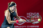 Jelena Ostapenko of Latvia competes against Kristina Kucova of Slovakia during the singles first round match at the WTA Prudential Hong Kong Tennis Open 2018 at the Victoria Park Tennis Stadium on 08 October 2018 in Hong Kong, Hong Kong. Photo by Yu Chun Christopher Wong / Power Sport Images