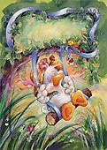 Ron, CUTE ANIMALS, Quacker, paintings, duck, swing(GBSG8101,#AC#) Enten, patos, illustrations, pinturas