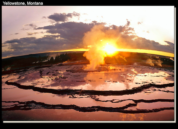 Photoshop. Fish-eye perspective added. Yellowstone National Park, Wyoming.