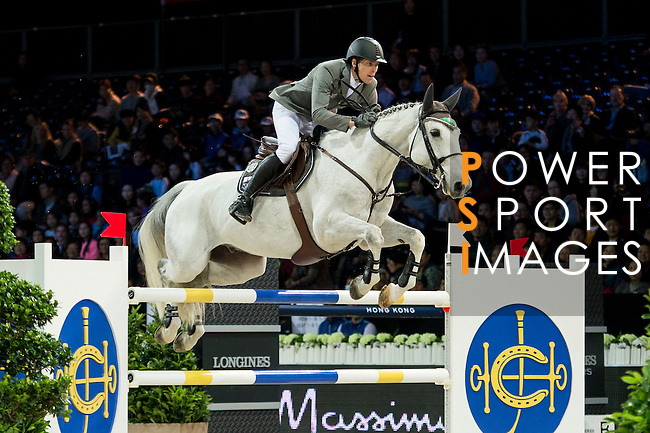 Henrik von Eckermann on Solitaer 41 competes during competition Table A Against the Clock at the Longines Masters of Hong Kong on 19 February 2016 at the Asia World Expo in Hong Kong, China. Photo by Li Man Yuen / Power Sport Images