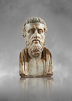 Roman marble sculpture bust of Sophocies, 1st Century AD from an original early 4th century BC Hellanistic Greek original, inv 6133, Museum of Archaeology, Italy Roman marble sculpture bust of Sophocles, 1st Century AD from an original early 4th century BC Hellanistic Greek original, inv 6133, Museum of Archaeology, Italy