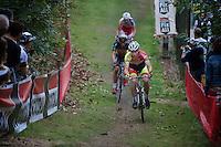 Laurens Sweeck (BEL/Corendon-Kwadro) leads over Sven Nys (BEL/Crelan-AAdrinks) & Klaas Vantornout (BEL/Sunweb-Napoleon Games)<br /> <br /> GP Neerpelt 2014