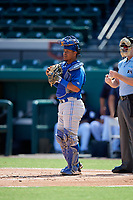 Toronto Blue Jays catcher Yorman Rodriguez (50) during an Instructional League game against the Detroit Tigers on October 12, 2017 at Joker Marchant Stadium in Lakeland, Florida.  (Mike Janes/Four Seam Images)