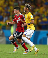 James Rodriguez of Colombia and Neymar of Brazil
