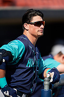 Lynchburg Hillcats left fielder Mitch Longo (10) in the dugout before the first game of a doubleheader against the Frederick Keys on June 12, 2018 at Nymeo Field at Harry Grove Stadium in Frederick, Maryland.  Frederick defeated Lynchburg 2-1.  (Mike Janes/Four Seam Images)