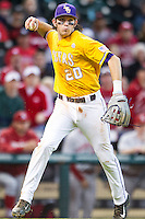 LSU Tigers third baseman Conner Hale (20) makes a throw to first base during the Houston College Classic against the Nebraska Cornhuskers on March 8, 2015 at Minute Maid Park in Houston, Texas. LSU defeated Nebraska 4-2. (Andrew Woolley/Four Seam Images)