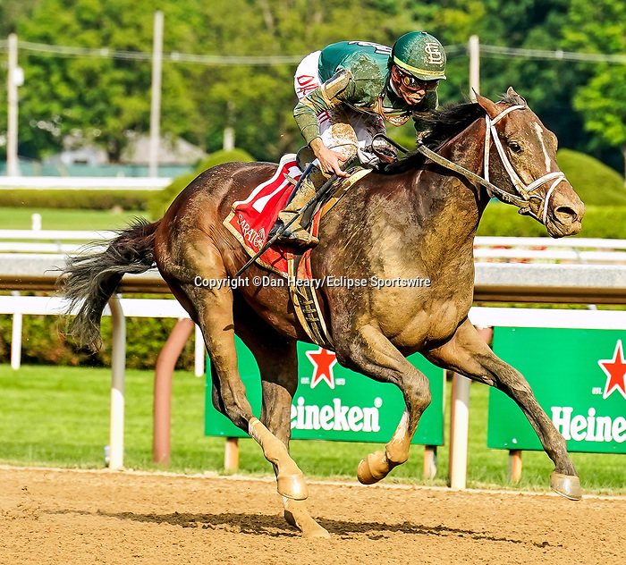 July 17, 2021: Wit #1, ridden by jockey Irad Ortiz Jr. wins the Sanford Stakes (Grade 3) for two-year-olds at Saratoga Race Course in Saratoga Springs, New York on July 17, 2021. Dan Heary/Eclipse Sportswire/CSM