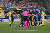 29th April 2021; Ceramica Stadium, Villareal, Spain; EUropa League semi-final football, Villareal CF versus Arsenal;  The referee shows a red card to Dani Ceballof Arsenal FC an d sends him off for a bad tackle