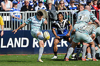 Ben Youngs of Leicester Tigers clears his line during the Aviva Premiership match between Bath Rugby and Leicester Tigers at The Recreation Ground on Saturday 20th April 2013 (Photo by Rob Munro)