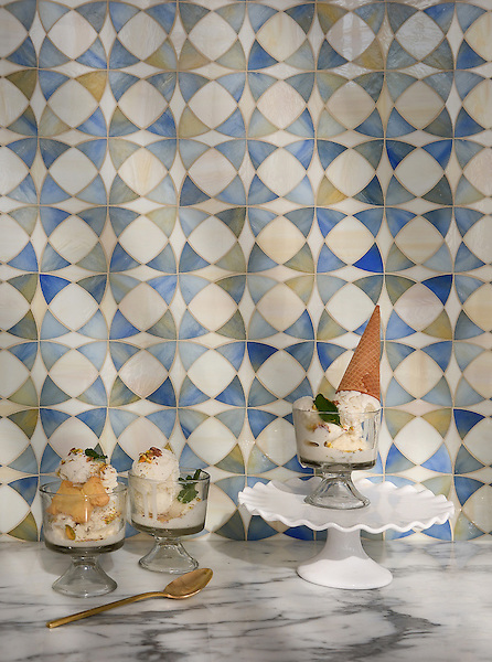 Zazen, a jewel glass mosaic shown in Chalcedony and Quartz, is part of the Miraflores collection by Paul Schatz for New Ravenna.