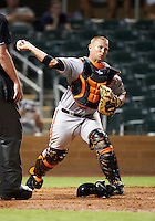 Mesa Solar Sox catcher Brian Ward #9, of the Baltimore Orioles organization, during an Arizona Fall League game against the Salt River Rafters at Salt River Fields at Talking Stick on October 9, 2012 in Scottsdale, Arizona.  Salt River defeated Mesa 6-5.  (Mike Janes/Four Seam Images)