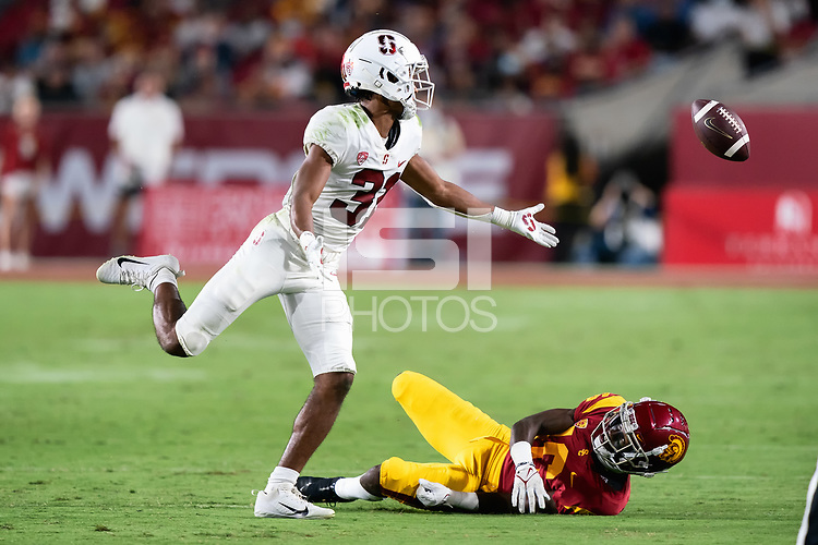 LOS ANGELES, CA - SEPTEMBER 11: Zahran Manley during a game between University of Southern California and Stanford Football at Los Angeles Memorial Coliseum on September 11, 2021 in Los Angeles, California.