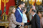 Princess Letizia of Spain, Prince Felipe of Spain, Queen Sofia of Spain   and the Secretary General of the Socialist Party (PSOE) Alfredo Perez Rubalcaba attend the Royal Palace reception on the National Military Parade.October 12,2012.(ALTERPHOTOS/Pool)