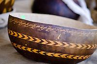 Hawaiian gourd bowl displayed at a craft fair, Honolulu, O'ahu.