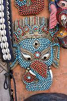 Nepal, Kathmandu, Swayambhunath.  A Mask Representing the Hindu Deity Ganesh  (Ganesha).