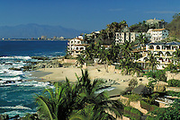 Chonches Chinas Beach with downtown Puerta Vallarta in background, Mexico. Puerta Vallarta, Mexico Puerta Vallarta, Chonches Chines Beach.