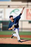 Lakeland Flying Tigers starting pitcher Austin Sodders (45) delivers a pitch during a game against the Bradenton Marauders on April 12, 2018 at Publix Field at Joker Marchant Stadium in Lakeland, Florida.  Bradenton defeated Lakeland 5-4.  (Mike Janes/Four Seam Images)