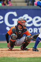 Frederick Keys catcher Stuart Levy (14) during the first game of a doubleheader against the Wilmington Blue Rocks on May 14, 2017 at Daniel S. Frawley Stadium in Wilmington, Delaware.  Wilmington defeated Frederick 10-2.  (Mike Janes/Four Seam Images)