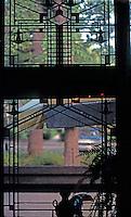 F.L. Wright: Harley Bradley House, Kankakee, Ill. Interior Window.  Photo '77.