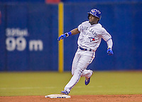 2 April 2016: The Toronto Blue Jays outfielder Roemon Fields in action during a pre-season exhibition game against the Boston Red Sox at Olympic Stadium in Montreal, Quebec, Canada. The Red Sox defeated the Blue Jays 7-4 in the second of two MLB weekend games, which saw a two-game series attendance of 106,102 at the former home on the Montreal Expos. Mandatory Credit: Ed Wolfstein Photo *** RAW (NEF) Image File Available ***