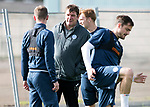 St Johnstone Training…29.09.17<br />Manager Tommy Wright pictured talking with Steven MacLean during training at McDiarmid Park ahead of tomorrow's trip to Aberdeen.<br />Picture by Graeme Hart.<br />Copyright Perthshire Picture Agency<br />Tel: 01738 623350  Mobile: 07990 594431