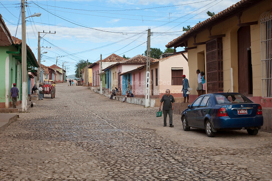 Cuba, Trinidad.  Street Scene, Pastel Houses.