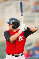Nicholas Ciolli #20 of the Kannapolis Intimidators at bat against the Greensboro Grasshoppers at Fieldcrest Cannon Stadium August 3, 2010, in Kannapolis, North Carolina.  Photo by Brian Westerholt / Four Seam Images