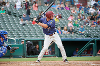 Frisco RoughRiders Alex Kowalczyk (27) bats during a Texas League game against the Midland RockHounds on May 21, 2019 at Dr Pepper Ballpark in Frisco, Texas.  (Mike Augustin/Four Seam Images)