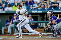 Vanderbilt Commodores shortstop Dansby Swanson (7) follows through on his swing against the TCU Horned Frogs in Game 12 of the NCAA College World Series on June 19, 2015 at TD Ameritrade Park in Omaha, Nebraska. The Commodores defeated TCU 7-1. (Andrew Woolley/Four Seam Images)