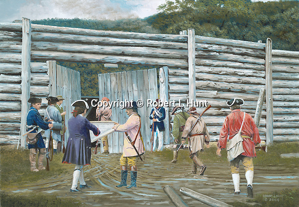"""Fort Roberdeau was a Revolutionary War fortification built to defend lead deposits on the Pennsylvania frontier, a restoration on the site sits near present day Altoona, PA. Oil on canvas, 18"""" x 26""""."""