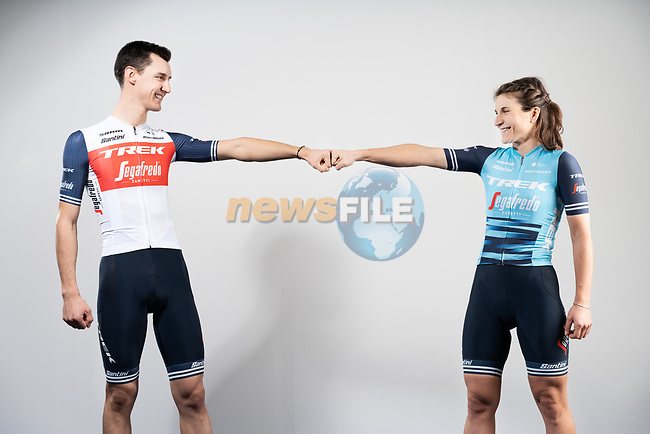 Santini Cycling Wear factory in Bergamo the venue for today's unveiling of the new Trek-Segafredo men's and women's kits for the upcoming 2021 racing season. <br /> Italian Champion Elisa Longo Borghini (ITA) models the women's kit and compatriot Nicola Conci the mens. 14th December 2020.<br /> Picture: Trek Factory Racing | Cyclefile<br /> <br /> All photos usage must carry mandatory copyright credit (© Cyclefile | Trek Factory Racing)
