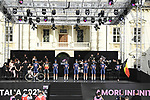 Alpecin Fenix on stage at team presentation of the 2021 Giro d'Italia inside the Cortile d'Onore of the Castello del Valentino, on the occasion of the 160th anniversary of the Unification of Italy, Turin, Italy. 6th May 2021.  <br /> Picture: LaPresse/Fabio Ferrari | Cyclefile<br /> <br /> All photos usage must carry mandatory copyright credit (© Cyclefile | LaPresse/Fabio Ferrari)