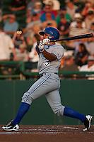 Outfielder Jonathan Jones #10 of the Dunedin Blue Jays during the game against the Daytona Cubs at Jackie Robinson Ballpark on April 10, 2012 in Daytona Beach, Florida. (Scott Jontes / Four Seam Images)