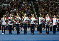 Gabby Douglas, McKayla Maroney, Aly Raisman, Kyla Ross, Jordyn Wieber, Sarah Finnegan, Anna Li, and Elizabeth Price pose together for group pictures after being on USA Women's Gymnastics Team for London 2012 during 2012 US Olympic Trials Gymnastics Finals at HP Pavilion in San Jose, California on July 1st, 2012.