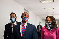 United States Senator Tim Scott (Republican of South Carolina) fields questions from reporters as he arrives for the GOP luncheon in the Hart Senate Office Building on Capitol Hill in Washington, DC., Tuesday, June 23, 2020. Credit: Rod Lamkey / CNP/AdMedia