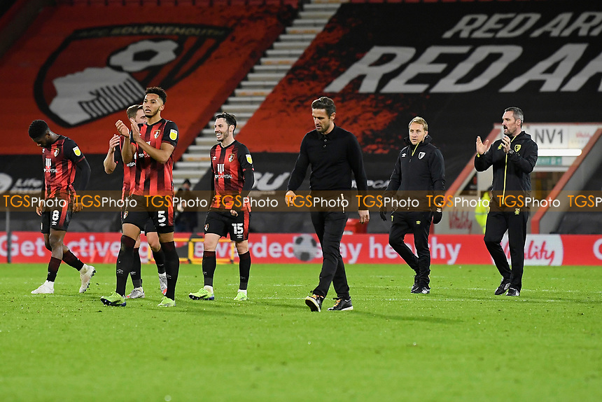 AFC Bournemouth players applaud the home fans at the end of the match during AFC Bournemouth vs Huddersfield Town, Sky Bet EFL Championship Football at the Vitality Stadium on 12th December 2020