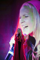 """Moscow, Russia, 25/09/2010..Russian competitor Julia Kurileva performs Pink Floyd's """"The Great Gig In The Sky"""" in the finals of the Karaoke World Championships 2010, where amateur singers from around the world competed for prizes that included one million Russian dumplings."""