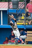 Burlington catcher Tom Hill (44) catches a foul pop fly versus Johnson City at Burlington Athletic Park in Burlington, NC, Sunday, July 15, 2007.