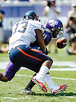 Virginia Cavaliers linebacker Daquan Romero (13) and TCU Horned Frogs wide receiver Skye Dawson (11) in action during the game between the Virginia Cavaliers and the TCU Horned Frogs  at the Amon G. Carter Stadium in Fort Worth, Texas. TCU defeats Virginia 27 to 7...