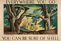 BNPS.co.uk (01202 558833)<br /> Pic: Lyon&Turnbull/BNPS<br /> <br /> Pictured: Newlands Corner near Guildford was part of the poster campaign<br /> <br /> A vast collection of vintage Shell posters have sold at auction for almost £60,000.<br /> <br /> The group of 49 sheets were sold directly from the oil giant's archives and featured some incredibly rare designs from down the years.<br /> <br /> All of the posters had previously been used in Shell advertising campaigns, dating back to between the 1920s and 1950s.<br /> <br /> Many of the colourful designed featured the slogan 'You can be sure of Shell' and list people who preferred their fuel.