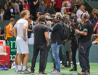 Switserland, Genève, September 19, 2015, Tennis,   Davis Cup, Switserland-Netherlands, Doubles: winning team De Bakker/Middelkoop encounter the media after they defeted Federer/Chiudinelli<br /> Photo: Tennisimages/Henk Koster