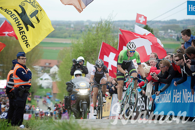 Sep Vanmarcke (BEL/Belkin) makes a move up the final ascent of the Paterberg with Fabian Cancellara (CHE/TrekFactoryRacing) giving it all he's got just to stay on his wheel<br /> <br /> Ronde van Vlaanderen 2014