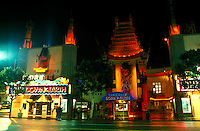 Mann's Chinese Theater, Hollywood, California, Los Angeles, CA, Mann's Chinese Theatre illuminated at night in Hollywood.