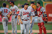 Peoria Chiefs Erick Almonte (44) walks back to the dugout after a mound meeting during a Midwest League game against the Fort Wayne TinCaps on July 17, 2019 at Parkview Field in Fort Wayne, Indiana.  Fort Wayne defeated Peoria 6-2.  (Mike Janes/Four Seam Images)