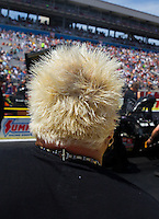 Apr 12, 2015; Las Vegas, NV, USA; Detailed view of the hair of celebrity chef Guy Fiere as he watches NHRA top fuel driver Shawn Langdon during the Summitracing.com Nationals at The Strip at Las Vegas Motor Speedway. Mandatory Credit: Mark J. Rebilas-
