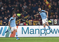 Football, Serie A: AS Roma - S.S. Lazio, Olympic stadium, Rome, January 26, 2020. <br /> Lazio's Francesco Acerbi (r) celebrates after scoring with his teammate Sergej Milincovic-Savic (l) during the Italian Serie A football match between Roma and Lazio at Olympic stadium in Rome, on January,  26, 2020. <br /> UPDATE IMAGES PRESS/Isabella Bonotto
