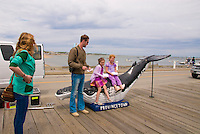 Director William J. Stribling, with actress Lucy Walters and little girls on Bubbles the Whale, Provincetown, MA, film location for Lies I Told My Little Sister