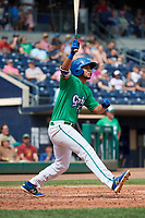 Hartford Yard Goats center fielder Omar Carrizales (19) hits a home run during a game against the Trenton Thunder on August 26, 2018 at Dunkin' Donuts Park in Hartford, Connecticut.  Trenton defeated Hartford 8-3.  (Mike Janes/Four Seam Images)