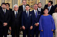 Photo family of the President of the Republic with  the Conti's government ministers <br /> Rome September 5th 2019. Quirinale. Swearing ceremony  of the new Italy's Government.<br /> Foto  Samantha Zucchi Insidefoto